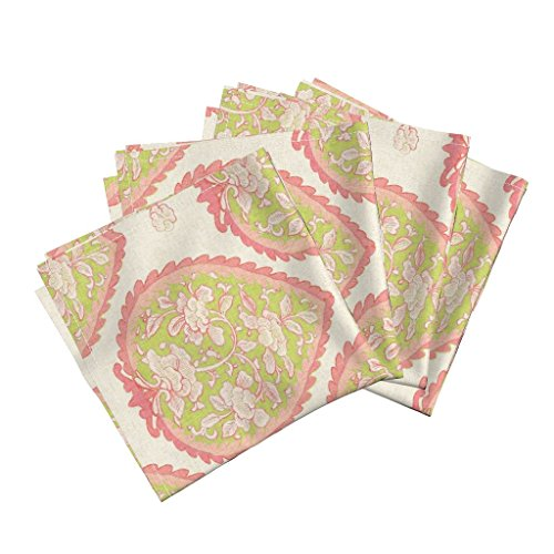 Roostery Green Pink French Indus Floral Chinoiserie Organic Sateen Dinner Napkins Jardin/Citron and Pink by Willowlanetextiles Set of 4 Dinner Napkins