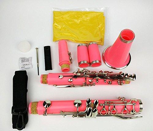 Xuan BB Clarinete Color Rosa 17llaves, chapado en níquel, con funda para estudiante Principiante