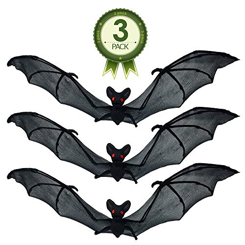 NorNovelties Bat Decorations & Wall Decor – Set Of 3 Hanging Bats For Halloween Party -