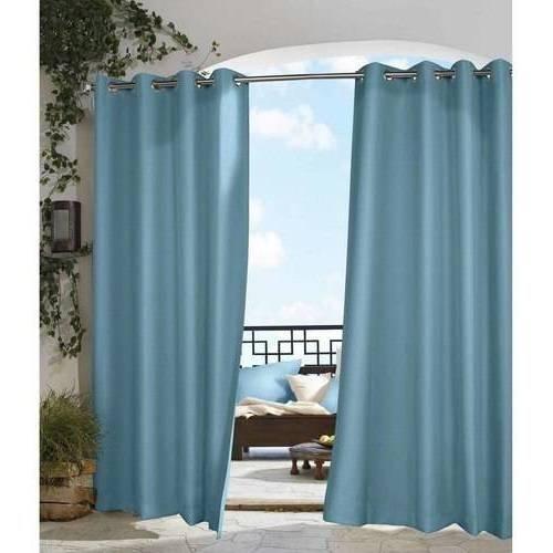 un 1pc 84 Outdoor Blue Solid Color Gazebo Curtain, Light Blue Outside Window Treatment Single Panel, Indoor Patio Porch Deck Entrance Door Grommet Doorway Pergola Drapes, Cabana Polyester