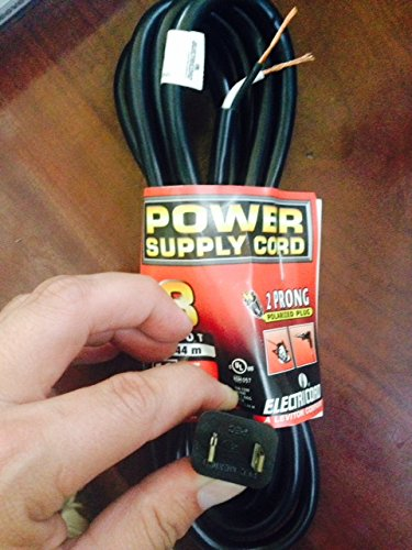 (Heavy Duty 8 Foot Power Cord 16 Gauge 13 Amps - 2 Prong Polarized Plug - Stripped Ends - Ready to be Wired Into a New Device - C2119008BL)