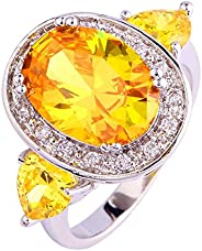 Veunora 925 Sterling Silver Created Rainbow Topaz Filled Large Stone Ring for Women