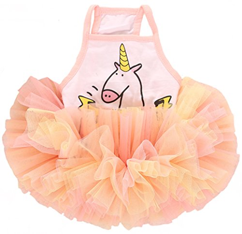 MaruPet Adorable Sweety Unicorn Print Puppy Princess Skirt Pet Cake Camisole Tutu Dress for Small Extral Small Teddy, Pug, Chihuahua, Shih Tzu, Yorkshire Terriers D-Incarnadine Pink (Pink Unicorn Costume For Dogs)