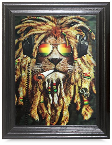 RASTA LION 3D FRAMED Holographic Wall Art-Lenticular Technology Causes The Artwork To Have Depth and Move-HOLOGRAM Style Images-HOLOGRAPHIC Optical Illusions By THOSE FLIPPING PICTURES