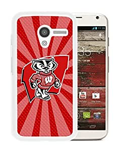 Ncaa Big Ten Conference Football Wisconsin Badgers 16 White Abstract Personalized Picture Motorola Moto X Case