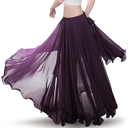 Royal Smeela Womens Belly Dance Skirt ATS Voile Maxi Full Tribal Bellydance Chiffon Skirt, Purple, One (Belly Dance Dancing Dancer Bra)