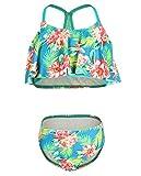 iDrawl Girls Tropical Ruffle Bathing Suits Beach Sport Two Piece Swimwear,Green,L (US 10-12)