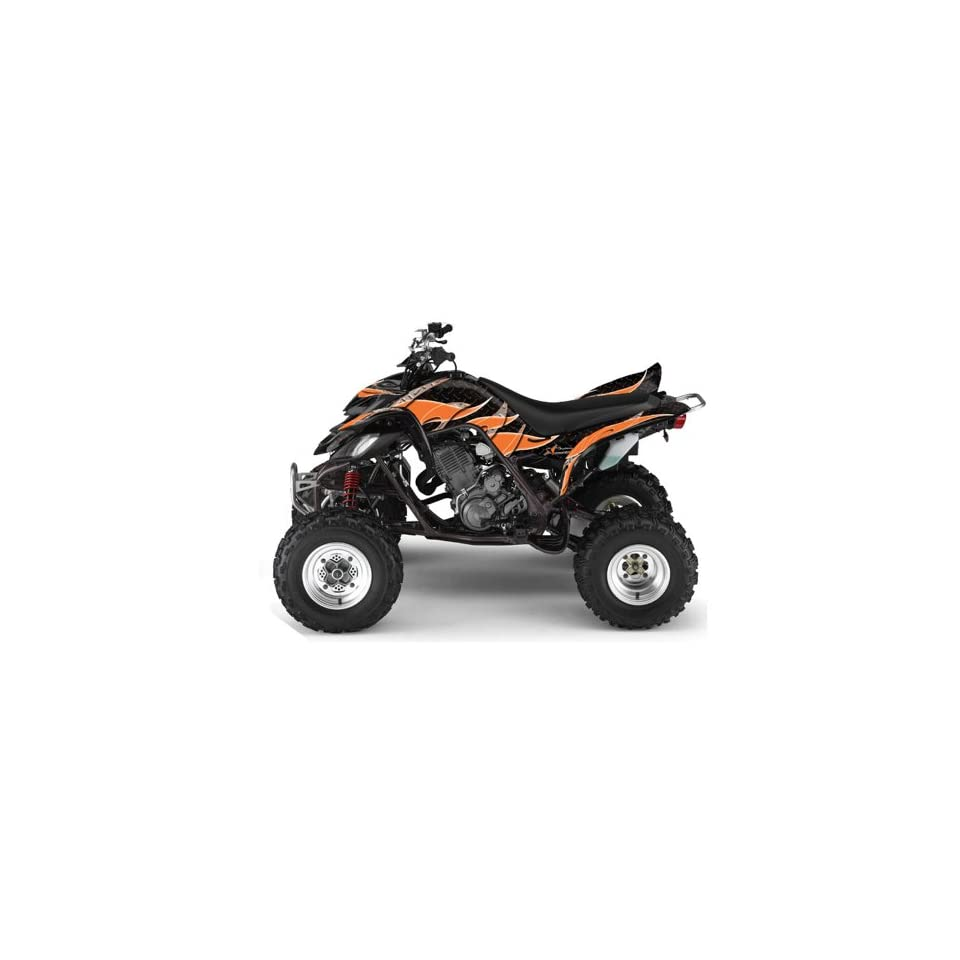 AMR Racing Yamaha Raptor 660 ATV Quad Graphic Kit   Tribal Flames Black, Orange