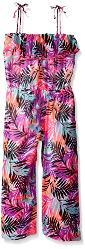 kensie Big Girls Printed Chiffon Ankle Length Romper, Multi Print, 14/16 - Kensie Girl Printed