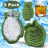 5 Pack 3D Ice Cube Silicone Mold Large 4 inch Ice Molds For Whiskey Drinks Soaps Baking Cake Ice Making Iced Chocolate Bar Beer Cocktail Beverages Grenade Shapes BPA-Free for Men Military Fans Gift