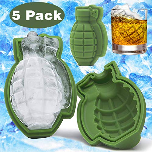 5 Pack 3D Ice Cube Silicone Mold Large 4 inch Ice Molds For Whiskey Drinks Soaps Baking Cake Ice Making Iced Chocolate Bar Beer Cocktail Beverages Grenade Shapes BPA-Free for Men Military Fans Gift -