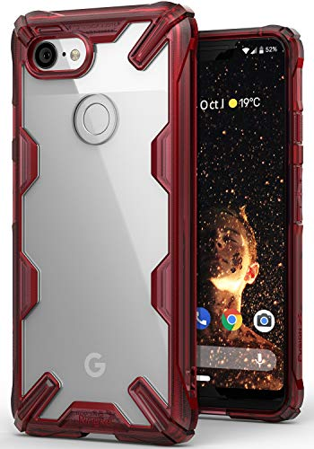 Ringke [Fusion-X] Compatible Pixel 3 XL Case Ergonomic Transparent [Military Drop Tested Defense] Hard PC Back TPU Bumper Impact Resistant Protection Cover Google Pixel 3 XL - Ruby Red