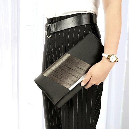 Becko Satin & Matte Wallet and Purse Long Clutch Bag Handbag Card Holder (Black) -