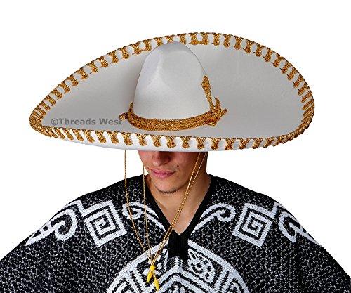 Genuine Made in Mexico Sombrero Adult Fancy Mariachi Sombrero Charro Hat, Premium Mexican Hat for Costume Parties, Patriotic Celebration, 5 de Mayo, 16 de Septiembre (Beige Plain and Gold Embroider)