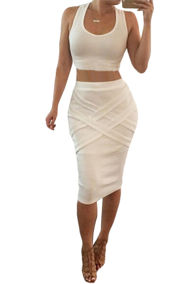 Pink Queen Crop Top Midi Skirt Outfit Two Piece Bodycon Bandage Dress S White