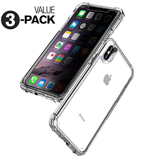 (The Ultimate [3 in 1] iPhone X XS Protection - Tempered Glass Privacy Screen Protector + Clear Shock Absorption iPhone Case + Camera Lens Protector - Shatter Proof, Anti Scratch, Anti Spy [iPhone 10])