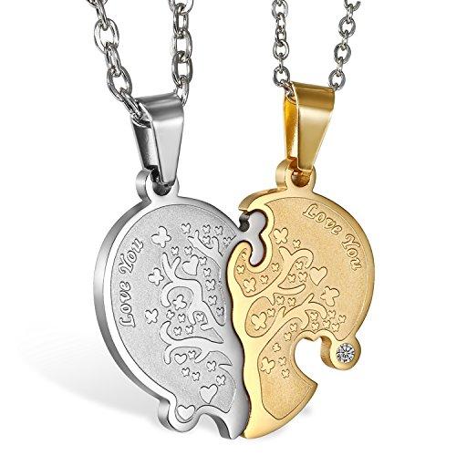 951398d1e5f5  2 pieza Acero inoxidable pareja collares plata oro Puzzle colgante