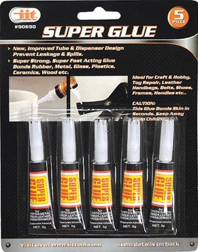 IIT 90690 Super Glue, 3 Grams Each, 5-Pack