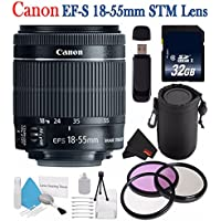 Canon EF-S 18-55mm f/3.5-5.6 IS STM Lens 8114B002 + 58mm 3 Piece Filter Kit + SD Card USB Reader + 32GB SDHC Class 10 Memory Card + Deluxe Starter Kit + Deluxe Lens Pouch Bundle