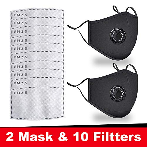 2PCS Safety Cotton Face Mask Protect, Washable and Reusable, Bandanas with Breathing valve With Activated 10 PCS Carbon…