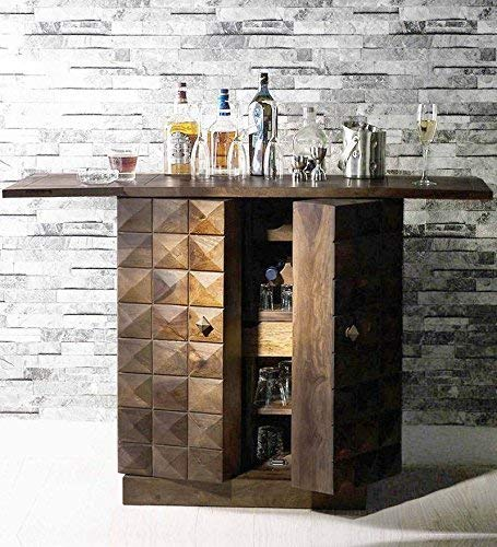 Furniture World Pre-Assemble Sheesham Wood Stylish Bar Cabinet/Wine Rack/Beer Bar/with Wine Glass Storage- Living Room Furniture(Walnut Finish)