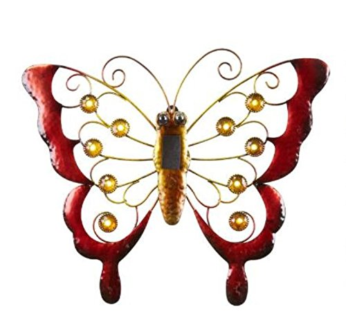 Red Hanging Solar LED Garden Butterfly Wall Sculpture 16