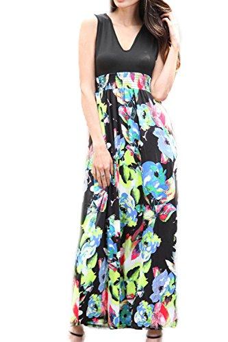 Women 's V - Cuello Exotic Print Boho Maxi Vestido De Fiesta En La Playa 3