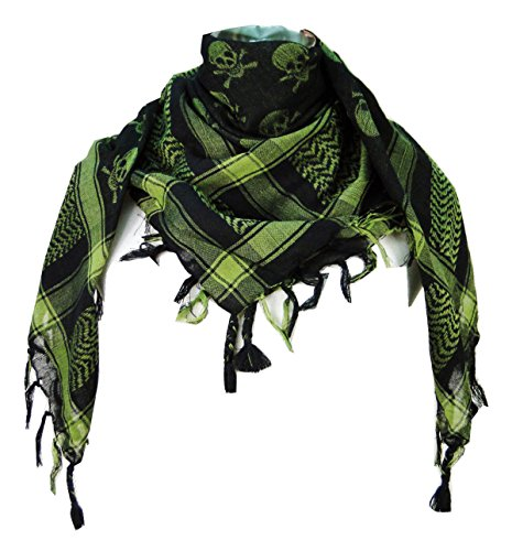 Premium Skull Pattern Shemagh Head Neck Scarf - Green/Black -