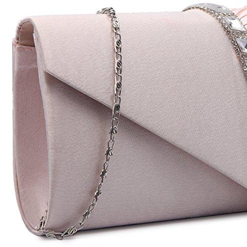 Miss Lulu Satin plisado para noche fiesta, boda, bolso de mano 6682 Elegant Diamante Clutch Nude