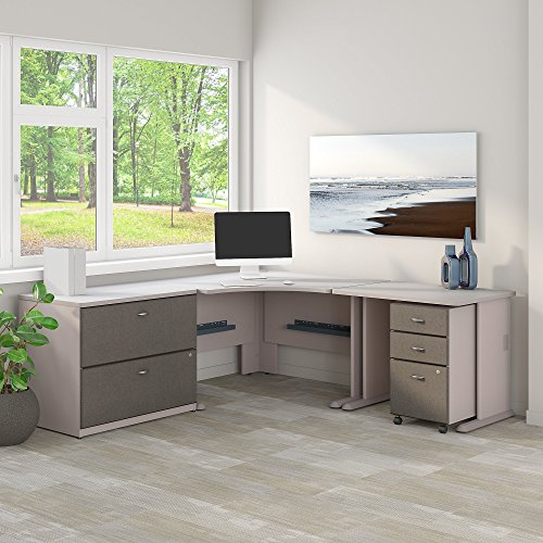 (Bush Business Furniture Series A 48W Corner Desk with 36W Return and File Cabinets in Pewter and White Spectrum)