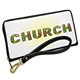 Wallet Clutch Church Green Stained Glass with Removable Wristlet Strap Neonblond