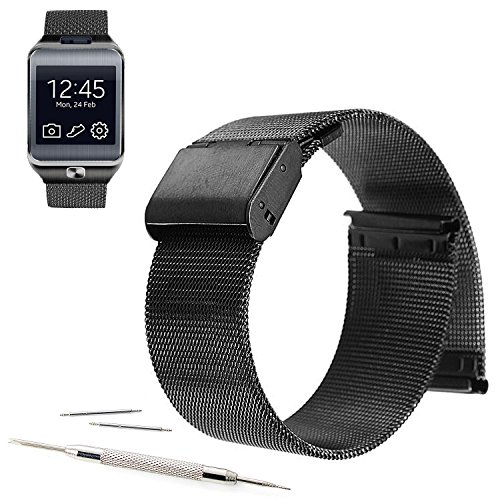 22mm Mesh Stainless Steel Milanese Loop Replacement Watch Band For Samsung Gear 2, Gear Neo, Gear Live (YESOO Retail Packaging - 180 Days Warranty) (Loop Black) - Gear 2 Band