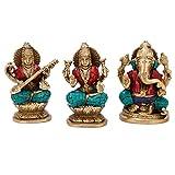 CraftVatika Gift Set of Lakshmi (Laxmi), Ganesh, Saraswati- Brass Ganesha Lakshmi Sarasvati Ganesha Idol Diwali Decor Gift