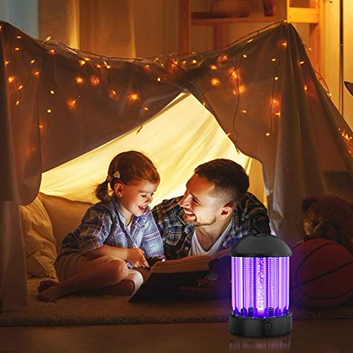 okk Electronic Bug Zapper Indoor and Outdoor, Portable Mosquito Killer Lamp Waterproof IP66 UV Insect Killer Trap with LED for Flies,Pests and Gnats, 2020 Updated Mosquito Light with Button [2-in-1]