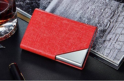 LinTimes PU Leather Stainless Steel Business Card Holder Name Card Case with Magnetic Shut Red Shut The Box Online