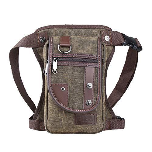 - Genda 2Archer Drop Leg bag Motorcycle Durable Canvas Multi-Pocket Support Max Waistline of 56 Inch