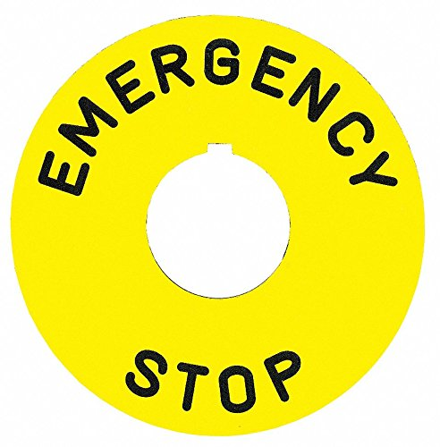 Schneider Electric 30mm Round Emergency Stop Legend Plate, Plastic, Yellow