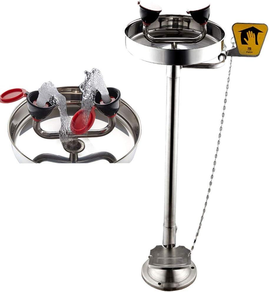 XCJJ Estación de lavado de ojos de emergencia de acero inoxidable de pie, grifo de seguridad para lavado de ojos/cara, pedal y válvula de empuje
