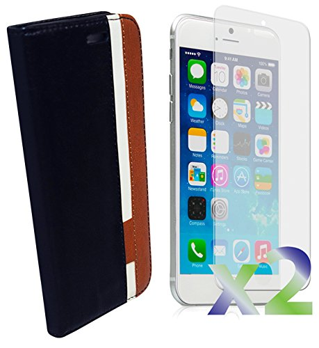 Exian Apple iPhone 6 Screen Guards x2 and Multi-Colour Wallet Case Black/Brown