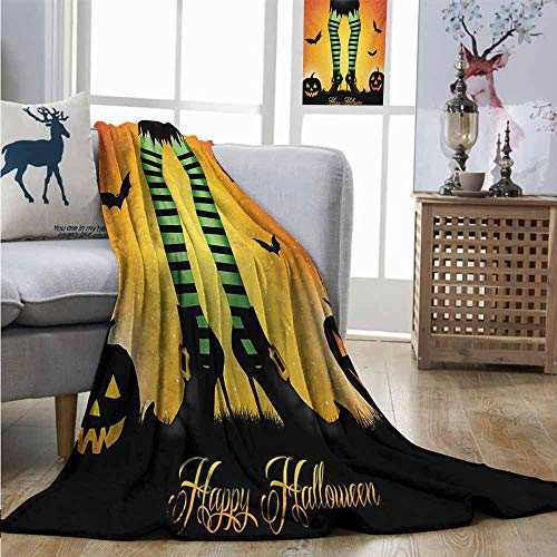 Homrkey Warm Microfiber All Season Blanket Halloween Cartoon Witch Legs with Striped Leggings Western Concept Bats and Pumpkins Print Huge Blanket W70 xL84 Multicolor