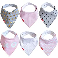 Baby Girl Bandana Drool Bibs (6 Pack) | For Newborn and Toddler Teething and ...