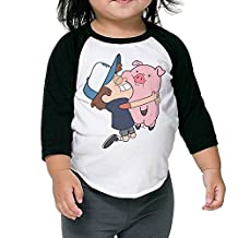 Toddler Vintage Gravity Falls Dipper Hugging Waddles 100% Cotton 3/4 Sleeve Athletic Baseball Raglan Shirt