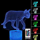 FULLOSUN Night Light for Kids Cat Kitty 3D Illusion Lamp with Remote Controller 16 Color Changing Xmas Halloween Birthday Gift Toys for Child Baby Boy