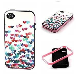 YULIN patrón de amor detrás encajona la cubierta para iphone4 / 4s