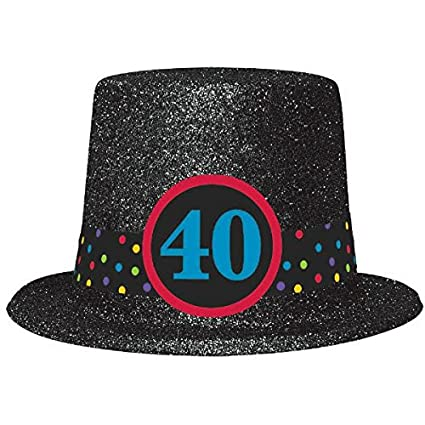 The Party Continuous 40th Birthday Glittered Top Hat Black 4 1 X 11 9 2 Plastic With Glitter Amazoncouk Toys Games
