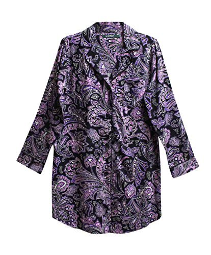 - Lauren Ralph Lauren Women's Notch Collar Printed Sleepshirt (Small, Purple Paisley)