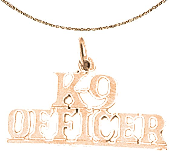 Jewels Obsession K-9 Officer Necklace 14K Rose Gold-plated 925 Silver K-9 Officer Pendant with 18 Necklace