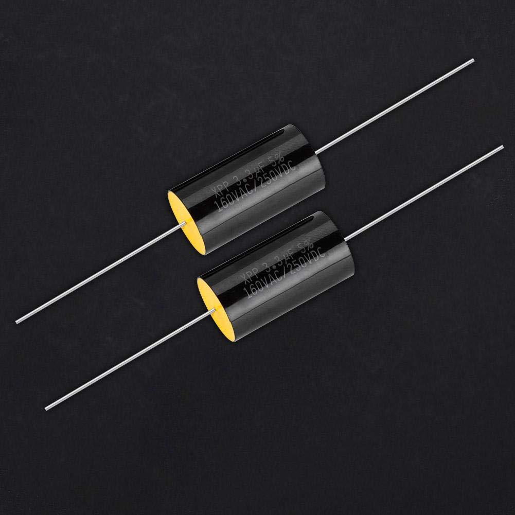 2Pcs Capacitor Frequency Divider DC 250V 1uF//2.2uF//3.3//uF Film Capacitor for Audio Divider 3.3uf
