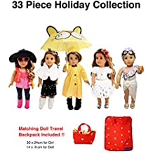 Weardoll 33 Piece American Girl Doll Accessories - 18 inch Doll Clothes Accessories Set Fits American Girl, Our Generation, Journey Girls