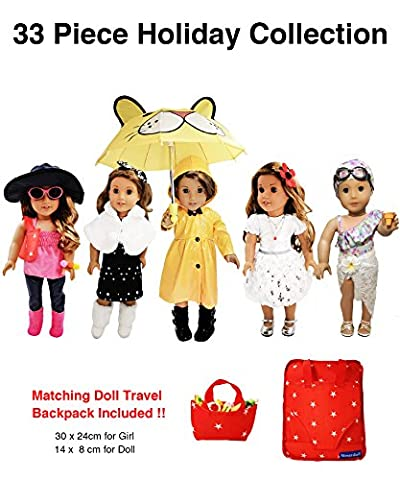 33 Piece American Girl Doll Accessories - 18 inch Doll Clothes Accessories Set Fits American Girl, Our Generation, Journey Girls by by - Chocolate Chip Boxed
